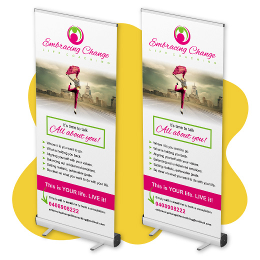 Image of a pull up banner display.